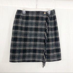 Marsh Landing Wrap Wool Plaid Midi Skirt, Size 14